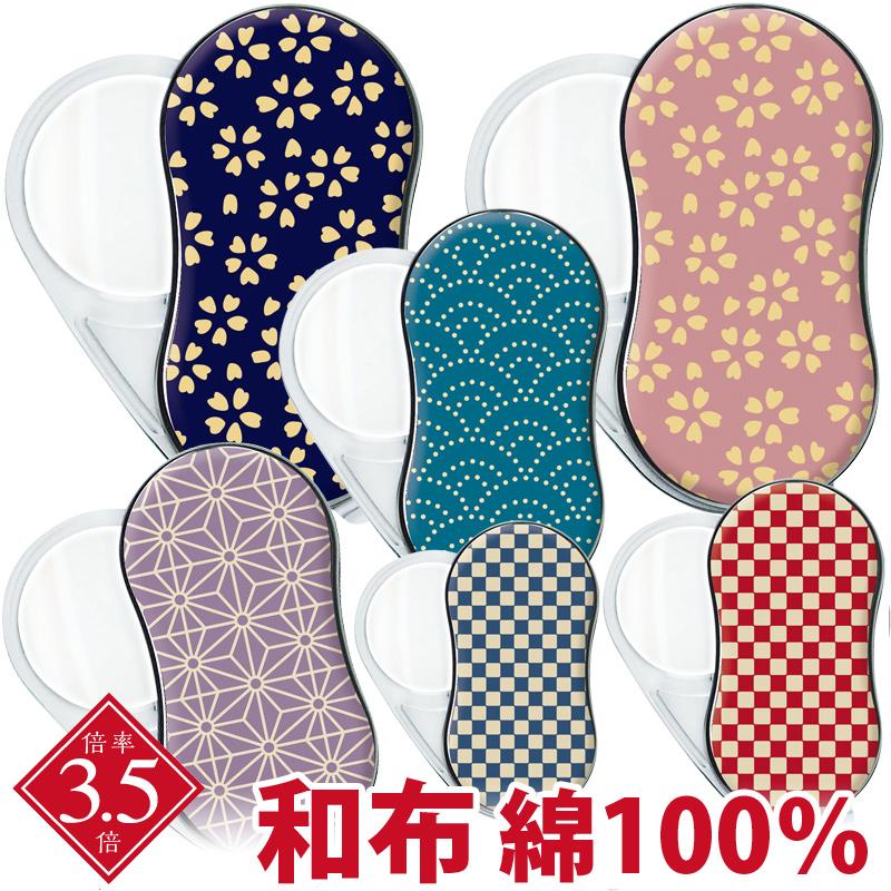 LEDライト付き スイングルーペ 3.5倍 35mm 小紋わふ 和布 和柄 ポケットルーペ スライドルーペ 拡大鏡 虫眼鏡 おしゃれ 布製 綿100%