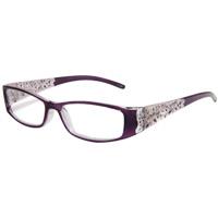 老眼鏡 602P リーディンググラス シニアグラス パープル 薔薇柄 バラ ローズ コンパクト 女性