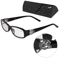 老眼鏡 バラ 柄 ローズ 606BK ブラック リーディンググラス シニアグラス 薔薇 花柄 女性 弱度 おしゃれ