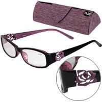 老眼鏡 バラ 柄 ローズ 606PU パープル リーディンググラス シニアグラス 女性 弱度
