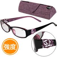 老眼鏡 バラ 柄 ローズ 606PU パープル リーディンググラス シニアグラス 女性 強度