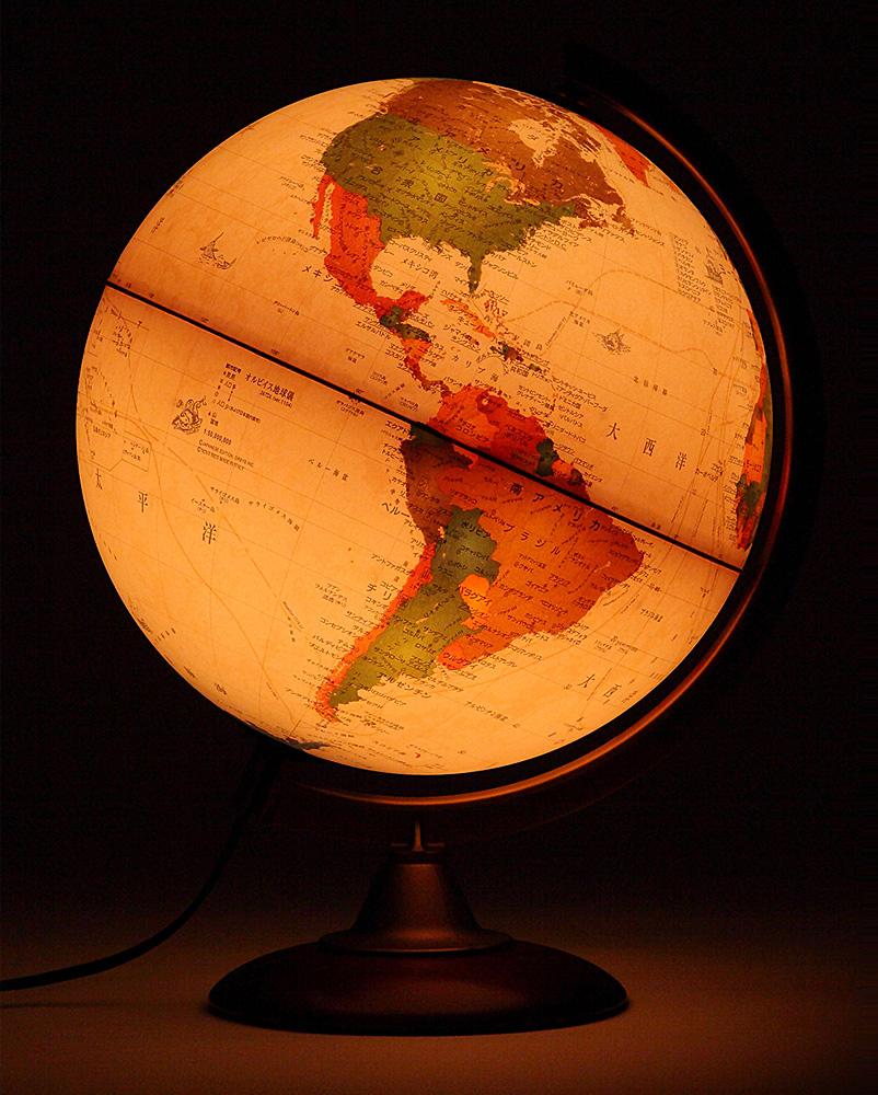 地球儀 [ライト付き] インテリア アンティーク 子供用 学習 行政図 25cm イタリア製 おしゃれ おすすめ