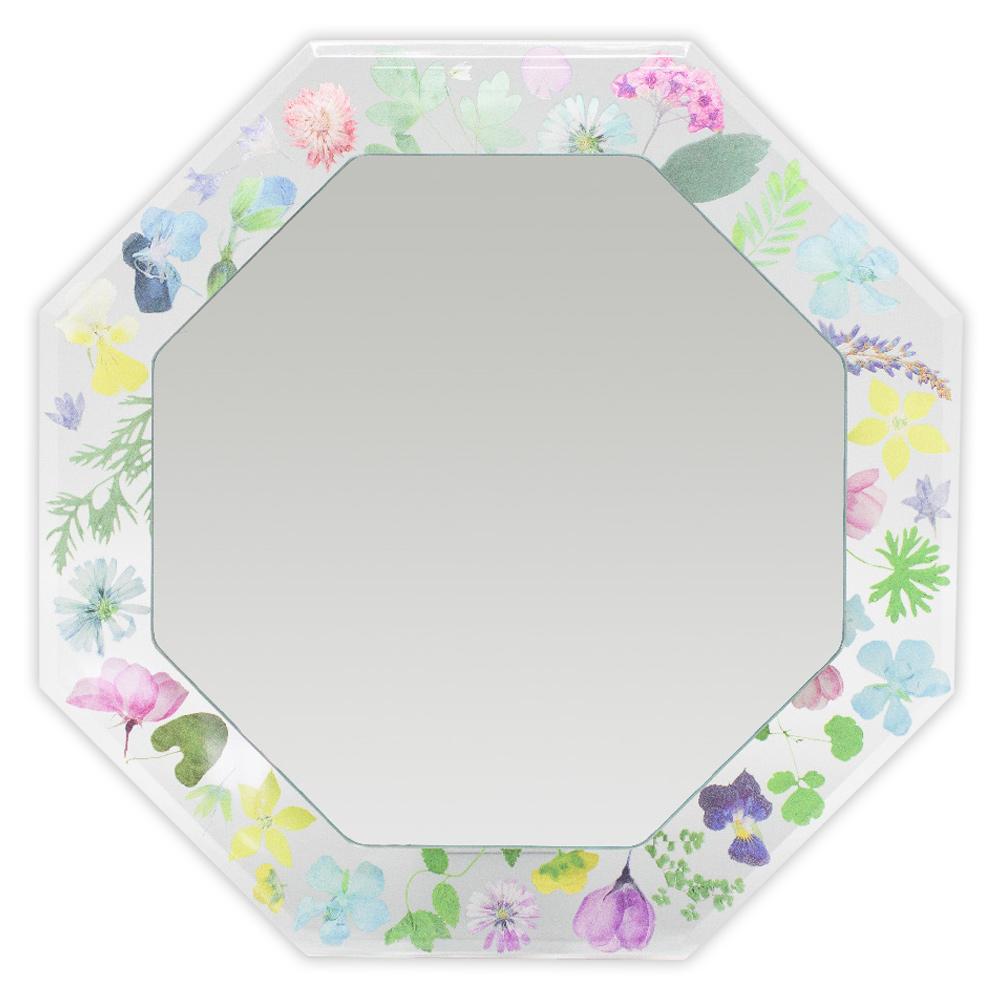 鏡 フィーデル スタンド&ウォールミラー 2WAY八角ミラー フローラルフレーム 壁掛け 卓上 おしゃれ 花柄