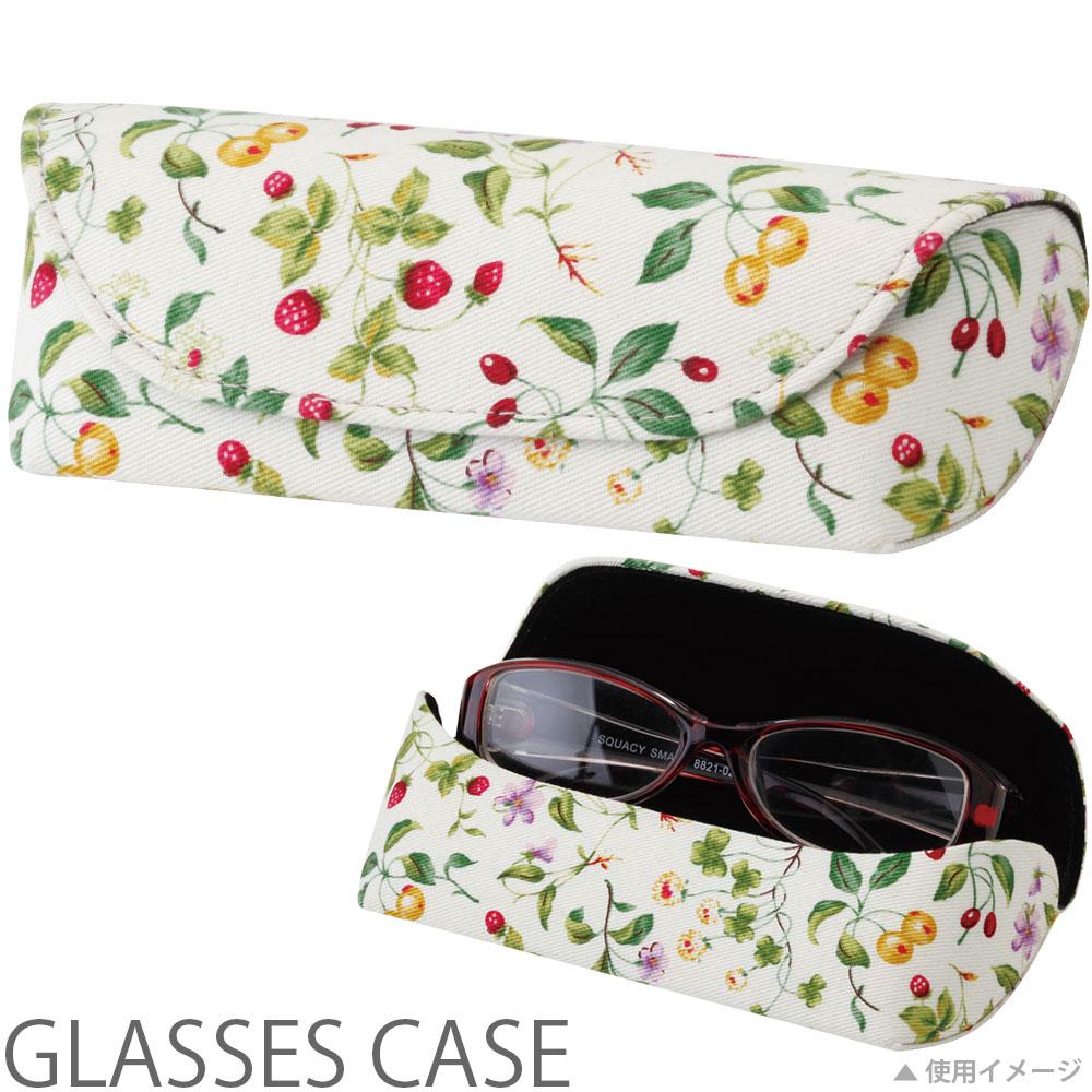 メガネケース セミハード HFU-71いちごとさくらんぼ パール 眼鏡ケース おしゃれ かわいい めがねケース レディース ギフト プレゼント