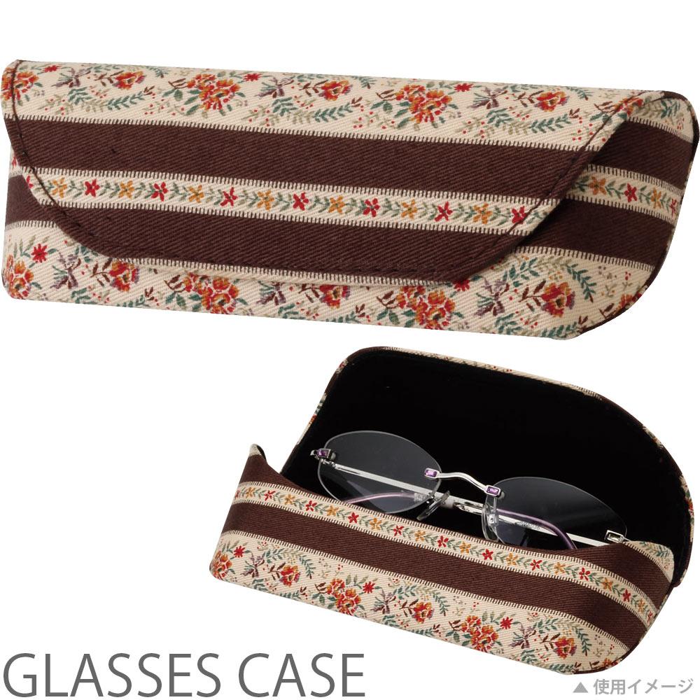 メガネケース セミハード HFU-75花柄BR パール 眼鏡ケース おしゃれ かわいい めがねケース レディース ギフト プレゼント