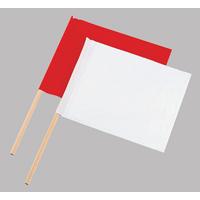 旗 工事用 布製 2本組 小 76955 工事現場 合図旗 赤白 誘導 シンワ測定