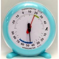 温湿度計 Q-2 丸型 10cmライトブルー 70496 温度計 湿度計 健康管理 省エネ ベビー用品 シンワ測定