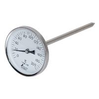 温度計 V-4 丸T字型 0〜200℃ Φ8×20cm黒目盛 73013 温度測定 ステン ステンレス製