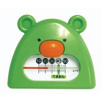風呂用温度計 B-9 くまさん グリーン&ホワイト 73051