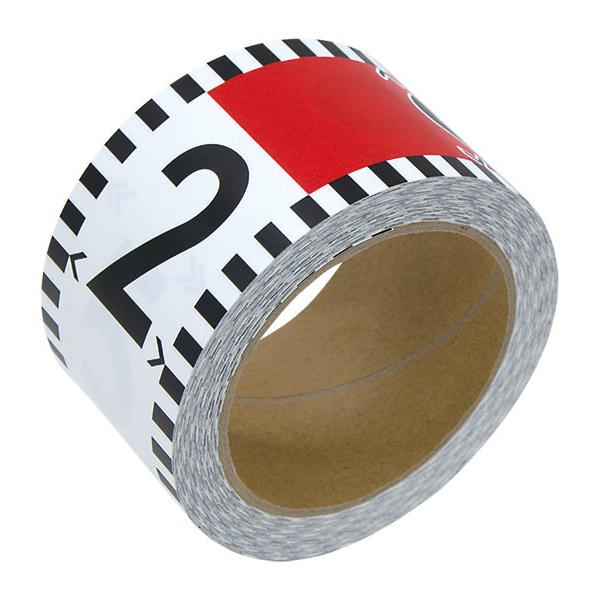 貼付ロッド 合成紙製60mm×26m赤白20cm間隔 目盛数字付 シンワ測定 建築 DIY 工具 大工 メモリテープ オリジナル ロッド メジャー