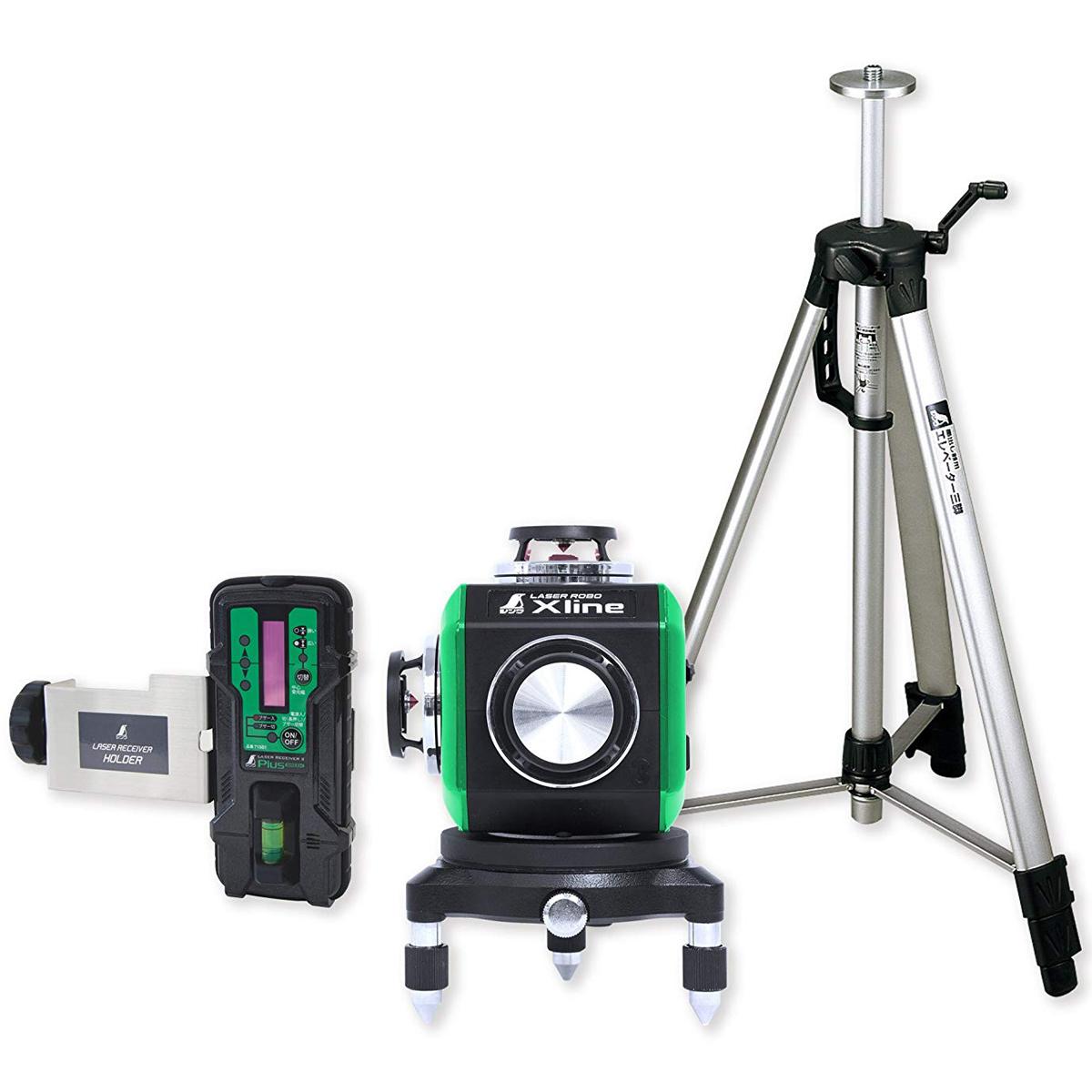 レーザーロボ X line グリーン 受光器・三脚セット シンワ測定