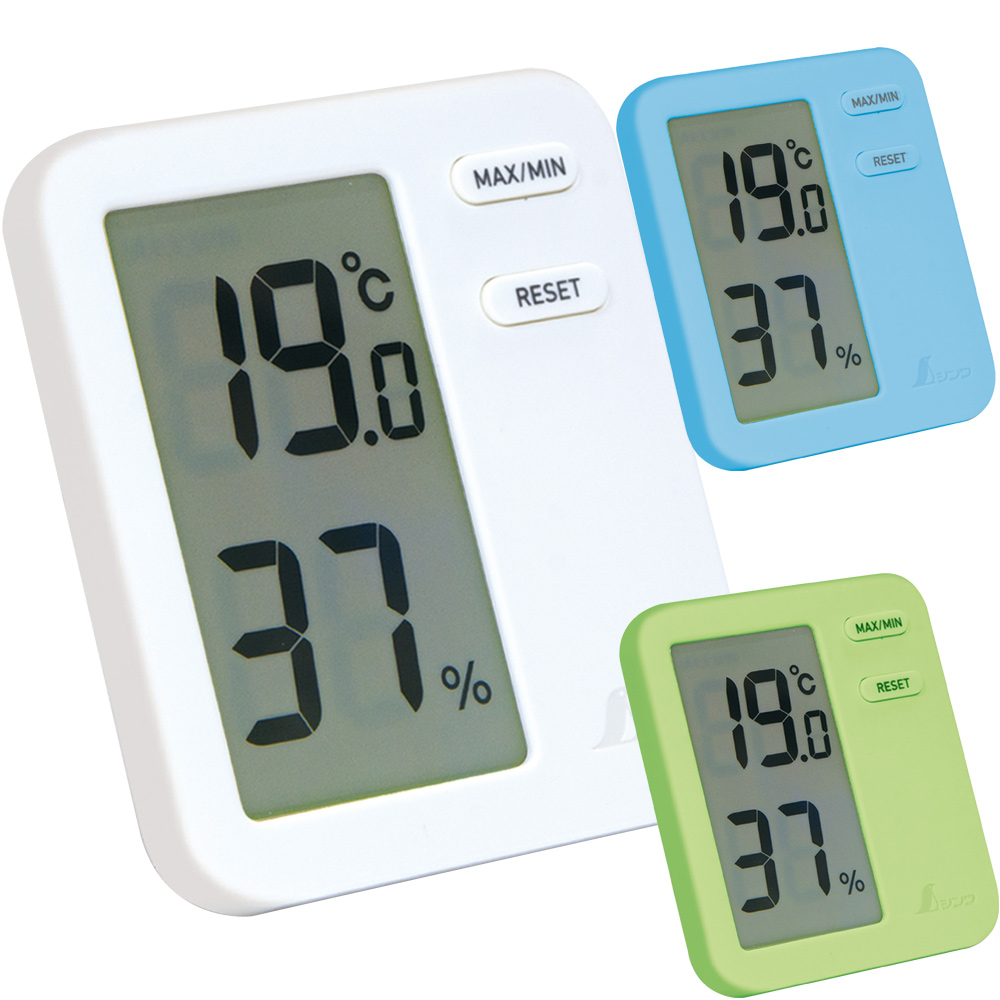 デジタル温湿度計 Home A ホワイト/ブルー/グリーン クリアパック 温度計 湿度計 シンワ測定 おしゃれ おすすめ