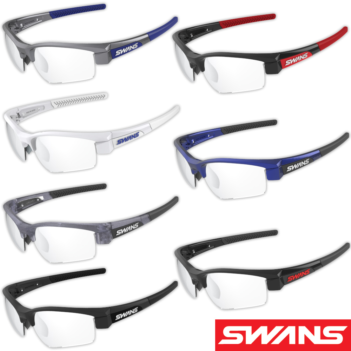 サングラス ミラーレンズ シルバーミラー×クリア 透明 スポーツ メンズ レディース LION SIN フレーム+L-LI SIN-0712 CL/SL おすすめ 人気 SWANS スワンズ