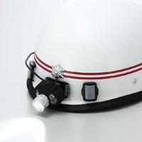 LEDヘッドライト[シリコンバンド付] 高輝度白・赤・青色LEDライト 5段階点灯タイプ 防災グッズ 消防 救急