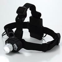 LEDヘッドライト[黒布バンド付] 高輝度白・赤・青色LEDライト 5段階点灯タイプ 防災グッズ 消防 救急 個人