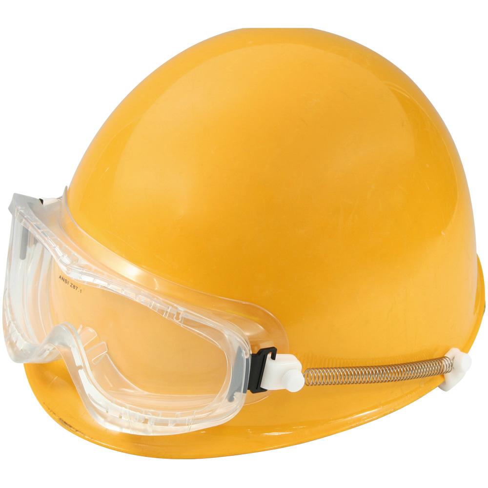 広視界スーパーワイド スプリングバンド ゴーグル 保護メガネ 作業用 MP型・野球帽型ヘルメット用 曇らない 安全 業務用