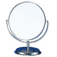 卓上ミラー 拡大鏡 メイク スタンドミラー 卓上 ヤマムラ [鏡] 2倍拡大鏡 メイク [拡大ミラー] 付き 丸型 メタルスタンド 老眼