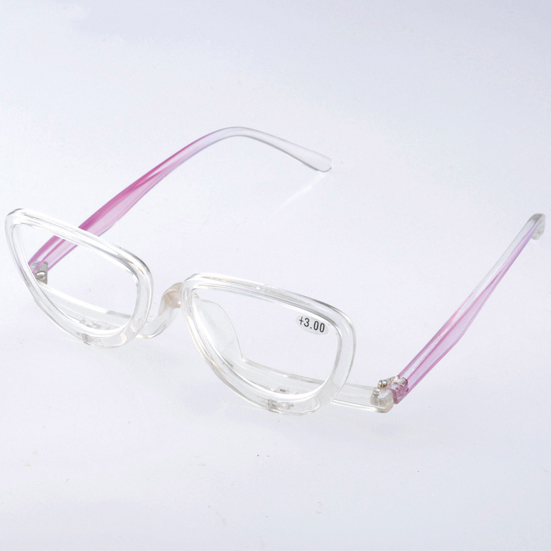 メイクアップグラス +3.00 老眼 アイメイク 化粧用 老眼鏡 シニアグラス レディース 女性用 おしゃれ マスカラ まつげエクステ アイデアグッズ