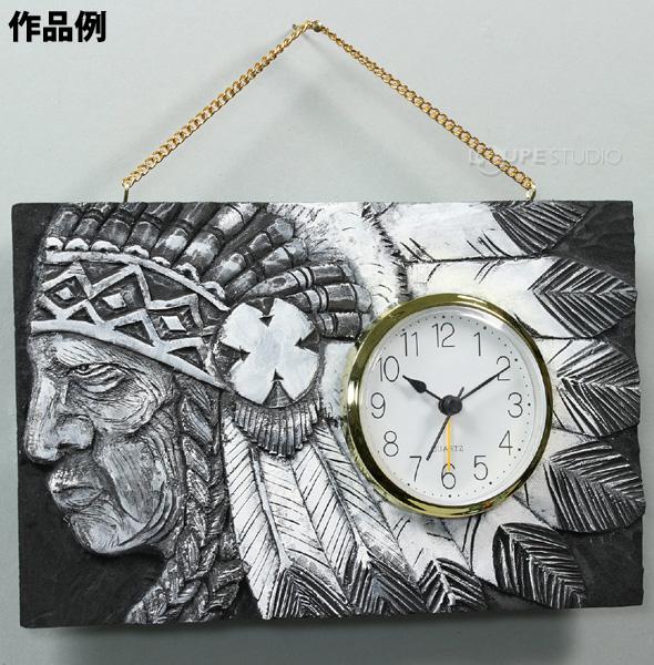 黒彫板 丸型時計かべかざり