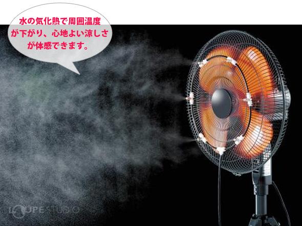 水の気化熱で周囲温度が下がり、心地よい涼しさが体感できます。