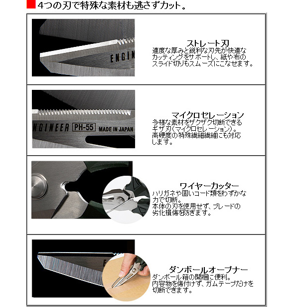 4つの刃で特殊な素材も逃さずカット。